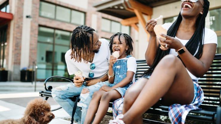 family enjoying a snack